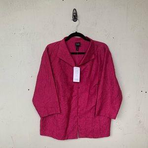 Eileen Fisher Pink High Collar Button Silk Shirt